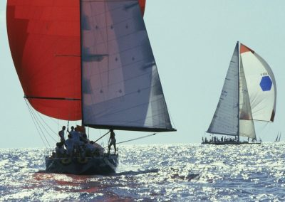 Two Sailboats Sailing in a Race